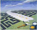 Illustration of Man Painting Road Over Maze