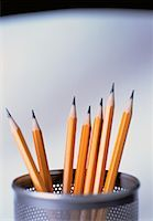 Close-Up of Pencils in Cup    Stock Photo - Premium Rights-Managednull, Code: 700-00049068