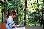 Woman Using Laptop Computer Outdoors on Deck    Stock Photo - Premium Rights-Managed, Artist: Dan Lim, Code: 700-00049613