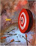 Illustration of People Looking at Arrow with Suction Cup on Target