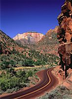 Highway 9 and Rock Formations Zion National Park Utah, USA    Stock Photo - Premium Rights-Managednull, Code: 700-00050321