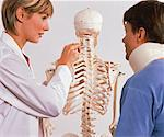 Physiotherapist and Patient Looking at Skeleton in Office    Stock Photo - Premium Rights-Managed, Artist: Masterfile, Code: 700-00051224