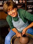 Portrait of Mature Woman at Potter's Wheel    Stock Photo - Premium Rights-Managed, Artist: Dan Lim, Code: 700-00051301
