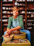 Portrait of Mature Woman at Potter's Wheel    Stock Photo - Premium Rights-Managed, Artist: Dan Lim, Code: 700-00051304