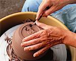 Close-Up of Female Potter's Hands Using Tool on Clay    Stock Photo - Premium Rights-Managed, Artist: Dan Lim, Code: 700-00051311