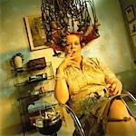 Mature Woman Sitting under Vintage Hair Curling Device    Stock Photo - Premium Rights-Managed, Artist: Brian Kuhlmann, Code: 700-00051638