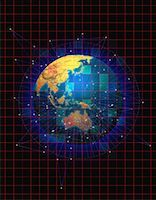 Globe with Grid and Connecting Lines Pacific Rim    Stock Photo - Premium Rights-Managednull, Code: 700-00054511