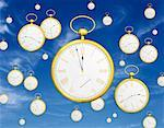 Pocket Watches Falling from Sky    Stock Photo - Premium Rights-Managed, Artist: Guy Grenier, Code: 700-00055251