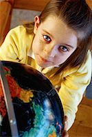 Portrait of Girl with Globe    Stock Photo - Premium Rights-Managednull, Code: 700-00055461
