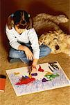Girl Sitting on Floor with Dog Coloring Map