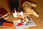 Girl Lying on Floor with Dog Coloring Map