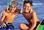 Portrait of Two Boys in Swimwear On Beach with Snorkeling Gear    Stock Photo - Premium Rights-Managed, Artist: Kevin Dodge, Code: 700-00055535