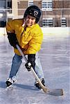 Portrait of Boy Playing Hockey At Outdoor Ice Rink    Stock Photo - Premium Rights-Managed, Artist: Dan Lim, Code: 700-00055592
