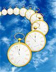 Curved Row of Pocket Watches in Sky    Stock Photo - Premium Rights-Managed, Artist: Guy Grenier, Code: 700-00055847