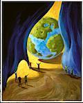 Illustration of People Unveiling Globe    Stock Photo - Premium Rights-Managed, Artist: Andrew Judd, Code: 700-00056354