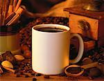 Mug of Coffee with Coffee Beans And Ground Coffee    Stock Photo - Premium Rights-Managed, Artist: G. Biss, Code: 700-00056917