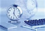 Alarm Clock, Journal, Globe and Computer Keyboard    Stock Photo - Premium Rights-Managed, Artist: David Muir, Code: 700-00057095