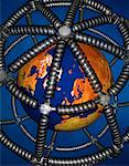 Globe Encased in Sphere of Telephone Cords    Stock Photo - Premium Rights-Managed, Artist: Guy Grenier, Code: 700-00057411