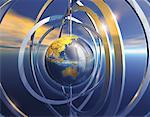 Metallic Globe and Rings in Sky Pacific Rim    Stock Photo - Premium Rights-Managed, Artist: Imtek Imagineering, Code: 700-00057419