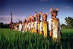 Group of Dancers Standing in Field, Bali, Indonesia
