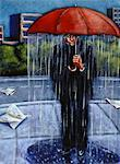 Illustration of Man Standing on Street with Rain Falling from Umbrella    Stock Photo - Premium Rights-Managed, Artist: James Wardell, Code: 700-00058011