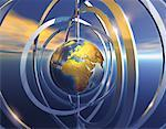 Metallic Globe and Rings Africa    Stock Photo - Premium Rights-Managed, Artist: Imtek Imagineering, Code: 700-00058487
