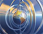 Metallic Globe and Rings North and South America    Stock Photo - Premium Rights-Managed, Artist: Imtek Imagineering, Code: 700-00058488