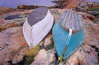 Overturned Rowboats on Rocky Landscape, Hopedale Newfoundland and Labrador, Canada    Stock Photo - Premium Rights-Managednull, Code: 700-00059023