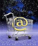 @ Symbol in Shopping Cart on WWW Landscape in Space    Stock Photo - Premium Rights-Managed, Artist: Nora Good, Code: 700-00059064