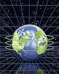 Circuit Board Globe with Rings And Grid in Space North America and Europe