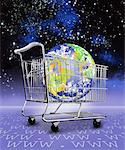 Globe in Shopping Cart in Space Europe and North America