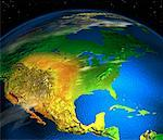 Close-Up of Globe in Space North America    Stock Photo - Premium Rights-Managed, Artist: Rick Fischer, Code: 700-00061594
