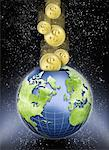 Coins Entering Globe as Piggy Bank in Space    Stock Photo - Premium Rights-Managed, Artist: Nora Good, Code: 700-00062317