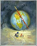 Illustration of Man on Ladder With Large Paintbrush, Painting Globe