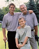 Portrait of Grandfather, Father And Son on Golf Course    Stock Photo - Premium Rights-Managednull, Code: 700-00062377
