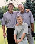 Portrait of Grandfather, Father And Son on Golf Course    Stock Photo - Premium Rights-Managed, Artist: Masterfile, Code: 700-00062377