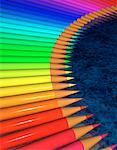 Curved Row of Pencil Crayons    Stock Photo - Premium Rights-Managed, Artist: Guy Grenier, Code: 700-00064173
