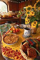 Breakfast Setting on Table with Sunflowers    Stock Photo - Premium Rights-Managednull, Code: 700-00064472