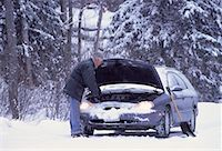 Mature Man with Stalled Car at Roadside in Winter, ON, Canada    Stock Photo - Premium Rights-Managednull, Code: 700-00065024