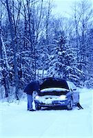 Mature Man with Stalled Car at Roadside in Winter, ON, Canada    Stock Photo - Premium Rights-Managednull, Code: 700-00065026