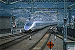 Bullet Train and Tracks Kyoto, Japan    Stock Photo - Premium Rights-Managed, Artist: Ron Stroud, Code: 700-00065222