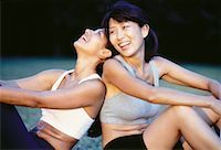 sweaty woman - Two Women Sitting Outdoors Laughing    Stock Photo - Premium Rights-Managednull, Code: 700-00065488