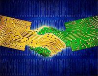 Circuit Board Handshake and Binary Code    Stock Photo - Premium Rights-Managednull, Code: 700-00066569