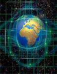 Globe and Grid in Space Africa    Stock Photo - Premium Rights-Managed, Artist: Imtek Imagineering, Code: 700-00066578