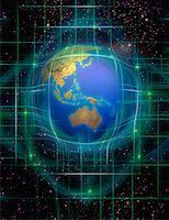 Globe and Grid in Space Pacific Rim    Stock Photo - Premium Rights-Managednull, Code: 700-00066579