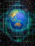 Globe and Grid in Space Pacific Rim    Stock Photo - Premium Rights-Managed, Artist: Imtek Imagineering, Code: 700-00066579