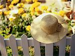 Hat on White Picket Fence near Garden    Stock Photo - Premium Rights-Managed, Artist: Dan Lim, Code: 700-00066765