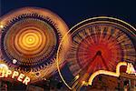 Amusement Park Rides at Night    Stock Photo - Premium Rights-Managed, Artist: Roy Ooms, Code: 700-00067235