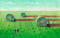Illustration of People Rolling Money on Ground    Stock Photo - Premium Rights-Managednull, Code: 700-00067630