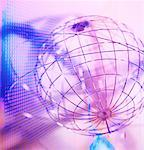 Wire Sphere with Rings and Abstract Grids    Stock Photo - Premium Rights-Managed, Artist: Ken Davies, Code: 700-00068301